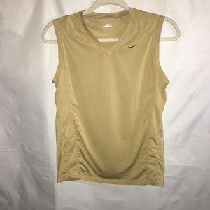 NIKE FIT Dry v neck sleeveless shirt in camel MED